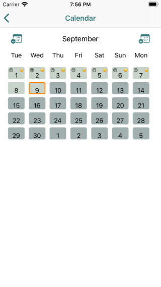 Calendar page showing meals, episodes and weights