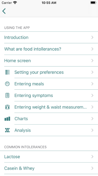 Guide page showing usage instructions and information on common intolerances